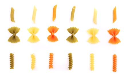 crossover: crossover from different color pasta on a white backgroun