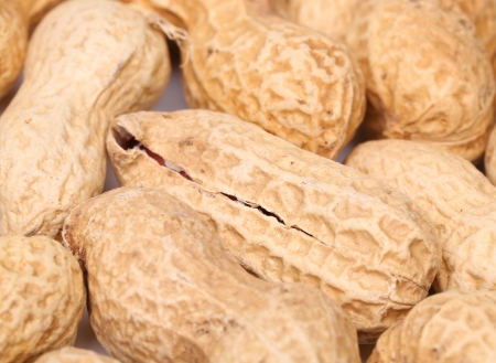 earthnut: close-up of some peanuts. background of some peanuts. Stock Photo