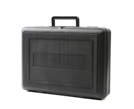 Black plastic case. Photos isolated on white background photo