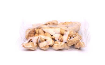 goober: plastic bag of peanuts on the white background