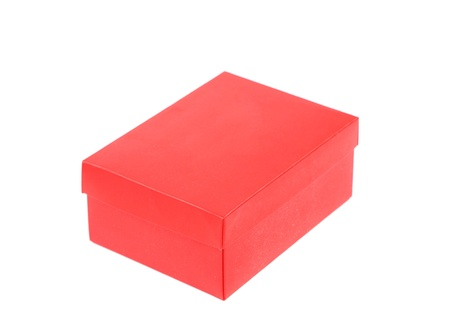 red shoe box isolated on a white background photo