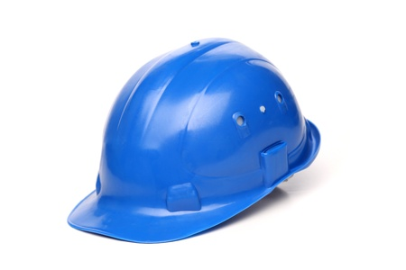 Blue hard hat isolated on a white background photo