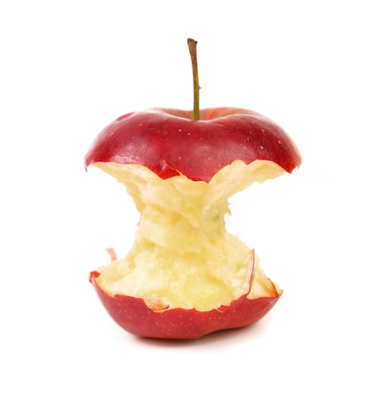 eaten: Red apple core on a white background Stock Photo