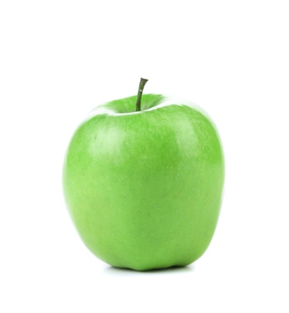 low perspective: Granny Smith variety of apple from low perspective isolated on white.