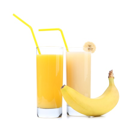 orange and banana juice isolated on white background photo