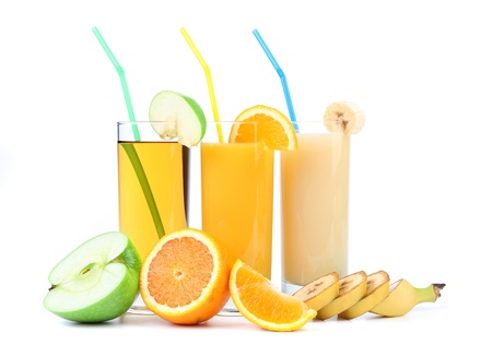 orange, apple and banana juice on a white background photo