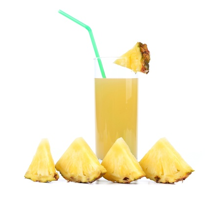pineapple juice isolated on a white background photo