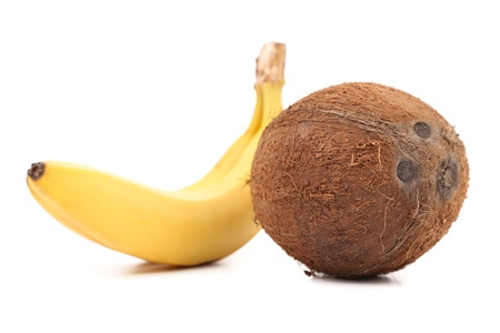 fruited: Coconut and Banana. Isolated on a white background.