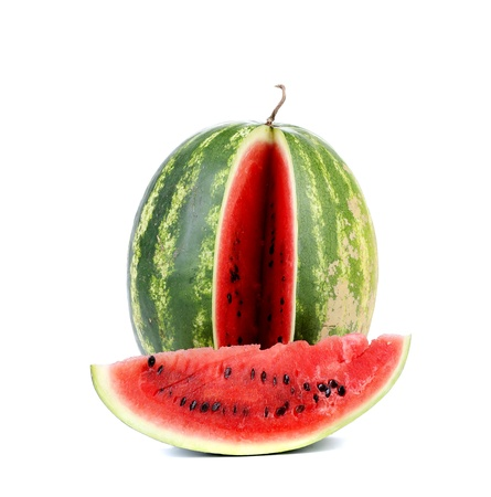 Big ripe watermelon and slice on a white background photo