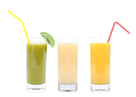 orange, kiwi and banana juice on a white background  photo