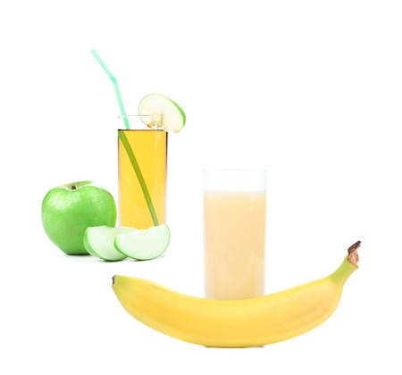 Apple and banana juice on a white background photo