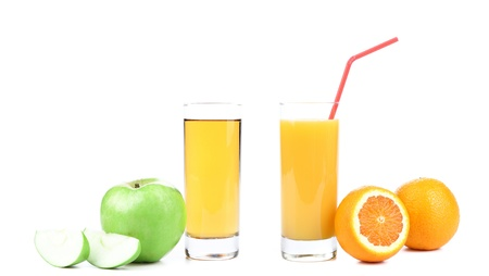 Apple and orange juice on a white background photo