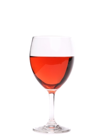pink wine: Glass of pink wine  Close up  White background