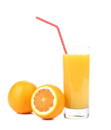 Orange juice and slices photo
