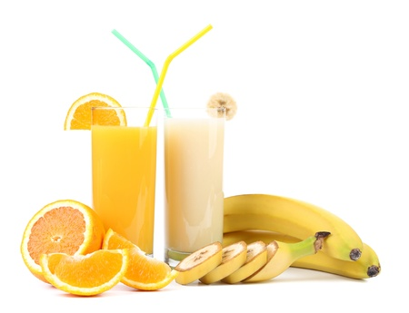 Orange and banana juice photo