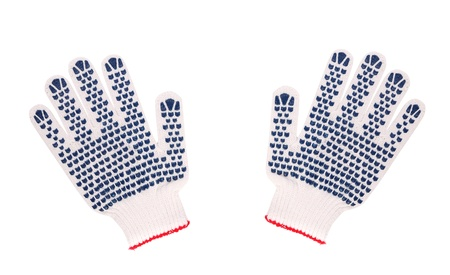 precaution: Work gloves isolated on a white background. Close up. Stock Photo