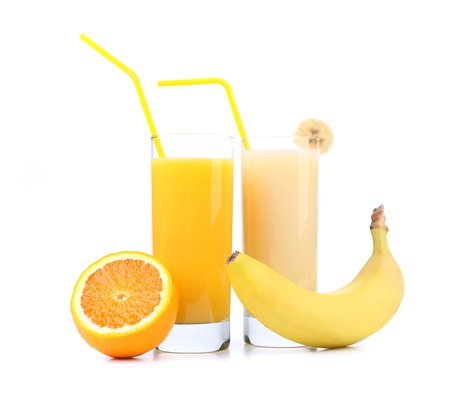 Orange and banana juice. Close up. White background photo