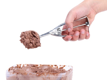 Chocolate ice cream scoop  Close up  White background  photo