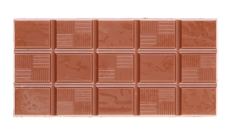 Milk chocolate bar. Isolate on a white background. photo