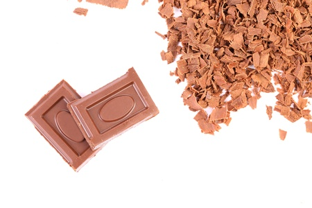 morsel: Tasty morsel and slices of choclate. White background.