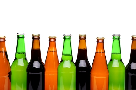 bottlenecks: Bottlenecks. Bottles of beer. Close up. White background. Stock Photo
