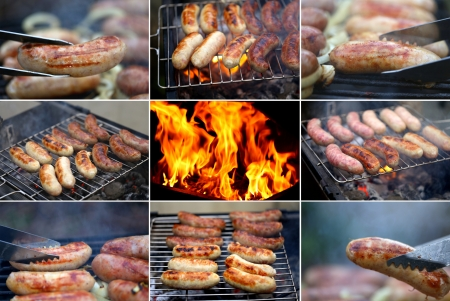 Collage ob bbq sausage  Eight bbq sausage  One fire
