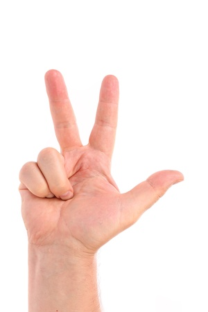 Three finger. Mans hand. Isolated on a white background. photo