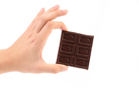 Hand holds chocolate bar. Isolated on a white background. photo