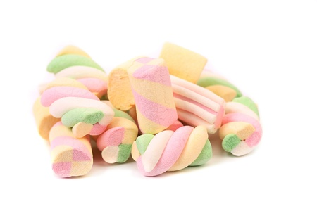 Different colorful marshmallow. Close up. White background.