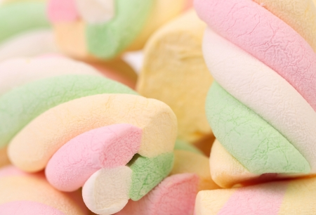 Different colorful marshmallow. Close up. Whole background.