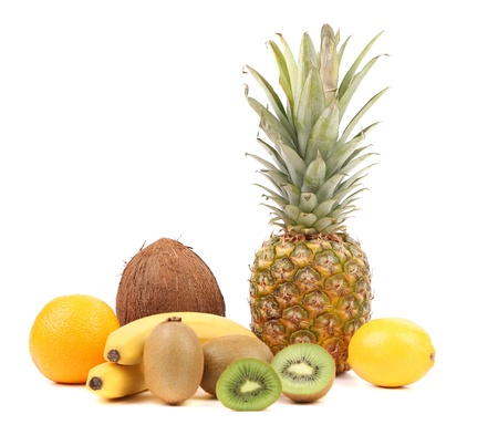 Pineaplle, lemon, kiwi, bananas, coconut, orange. White background. photo
