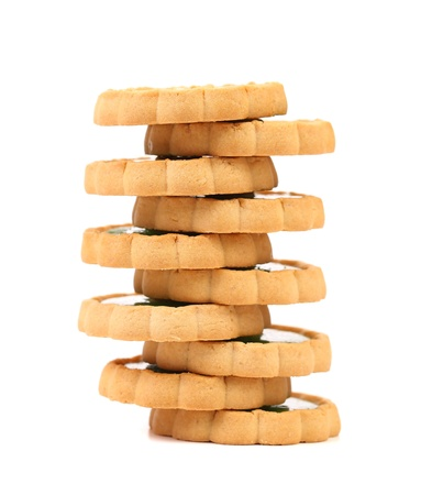 Stacks of cookies on a white background photo