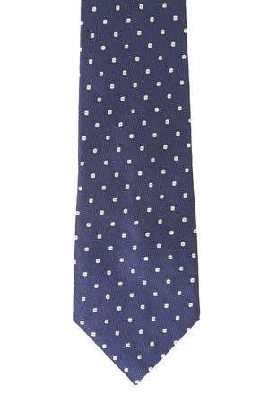Blue tie with white speck. White background. photo