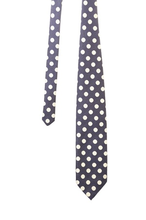 Blue tie with white polka. White background. photo