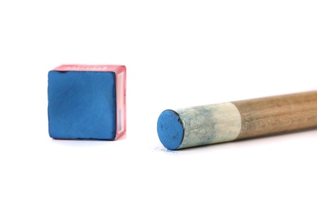 Cue stick with chalk block. White background.