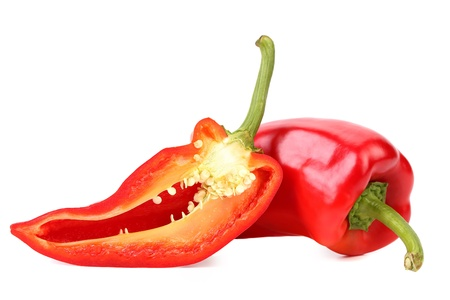 Red pepper and slice isolated on a white background photo