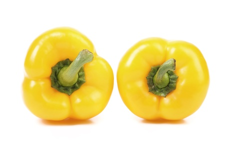 Yellow peppers isolated on a white background. photo