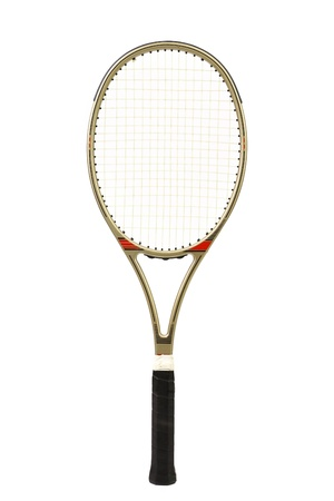 Gray tennis racket isolated on a white background photo