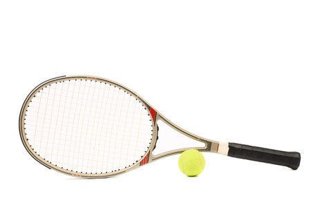 Gray tennis racket and yellow ball isolated white background
