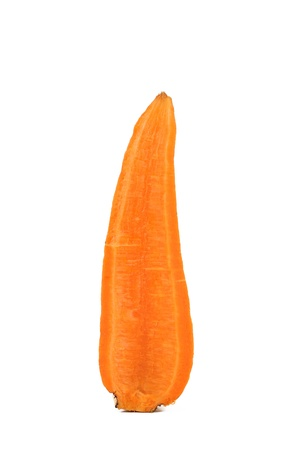 Slice of Fresh Carrot on a White Background photo