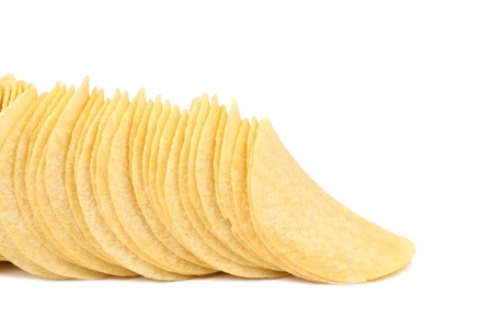 titbits: Potato chips are located on a white background.