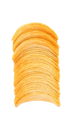 titbits: Stack of potato chips isolated on a white background.