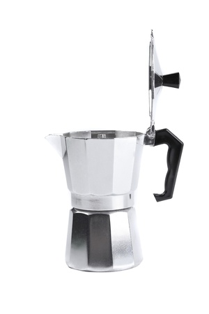 percolator: percolator coffee with the lid open on a white background