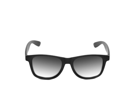 Black modern eyeglasses isolated on a white background photo