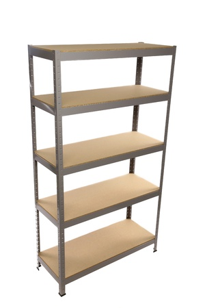 Perfect Metal Industrial Storage Shelves. Isolated On A White Background. Stock  Photo   21411949