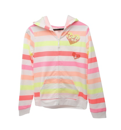 Colourful childrens jacket isolated on a white background photo