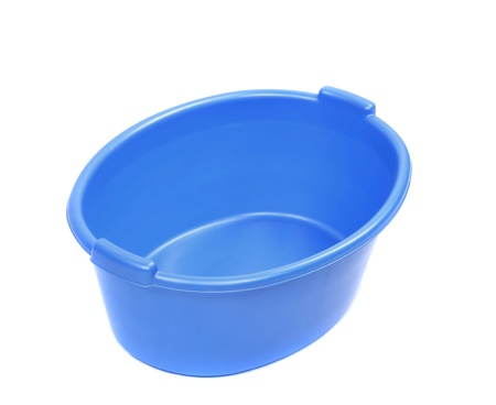 washbowl: Blue washbowl. Isolated on a white background