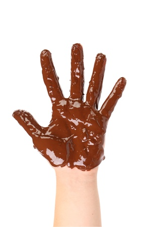 hellion: Children s hand stained with chocolate frosting