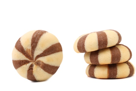 spiraling: Biscuits of a chocolate cloves. White background.