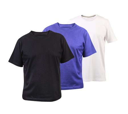 Set of three color cotton t-shirts isolated on a white background photo